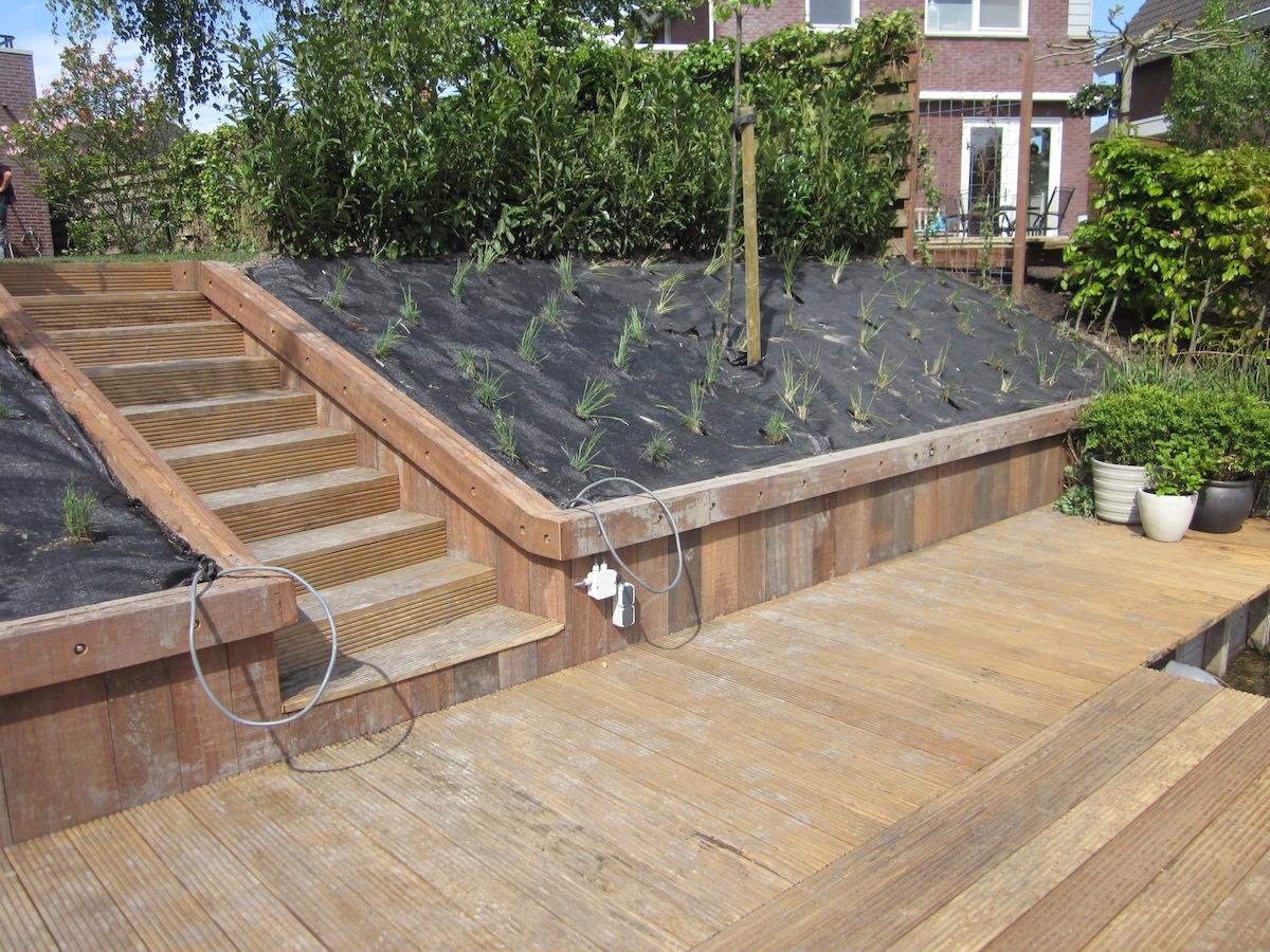 Gerenoveerde achtertuin in winsum hovenier van dijk tuinen groningen - Inrichting van het terras ...